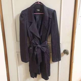 全新出清 深紫風衣外套 洋裝 修身