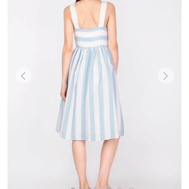 A for Arcade Maisie Striped Dress in Sky BNWT