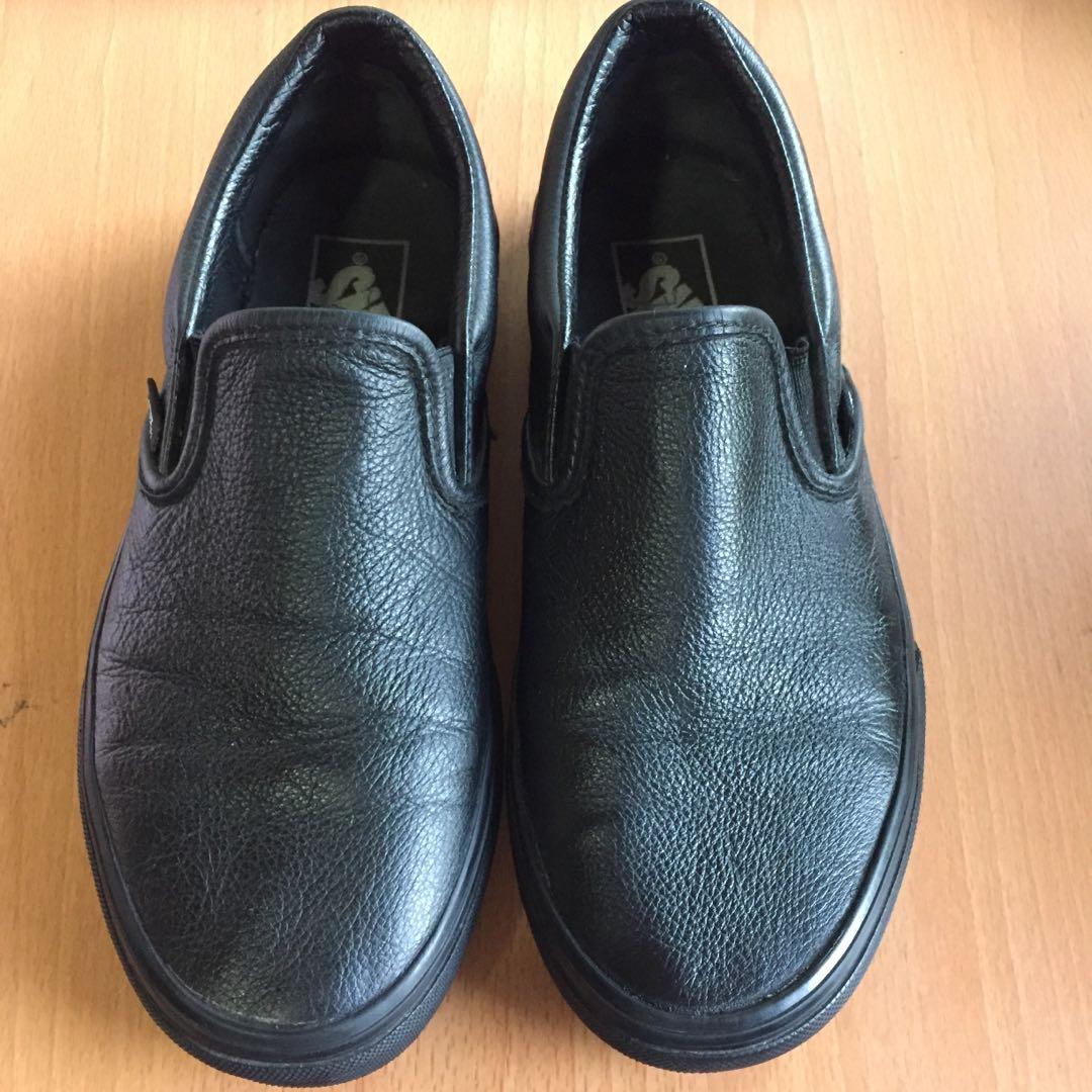 ade0d45c9e Authentic Vans slip on leather triple black