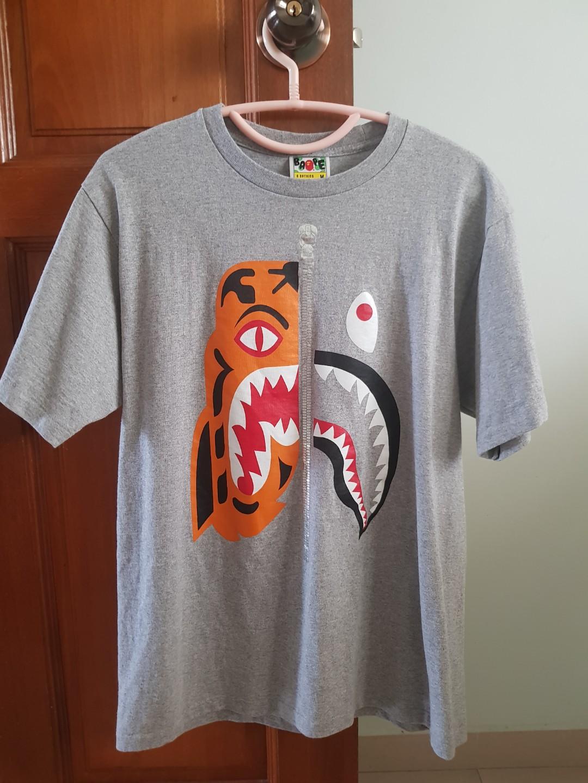 31b948b2 Bape tiger shark t shirt grey, Men's Fashion, Clothes, Tops on Carousell
