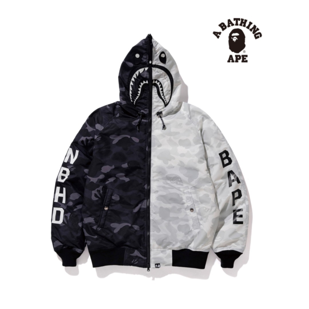 64abee6b Bape X Neighborhood Half Camo Down Jacket, Men's Fashion, Clothes ...