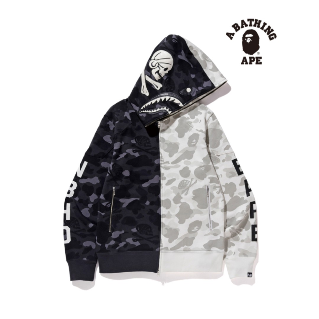 85bec0e0ac6b Bape X Neighborhood Half Camo Shark Zip Hoodie