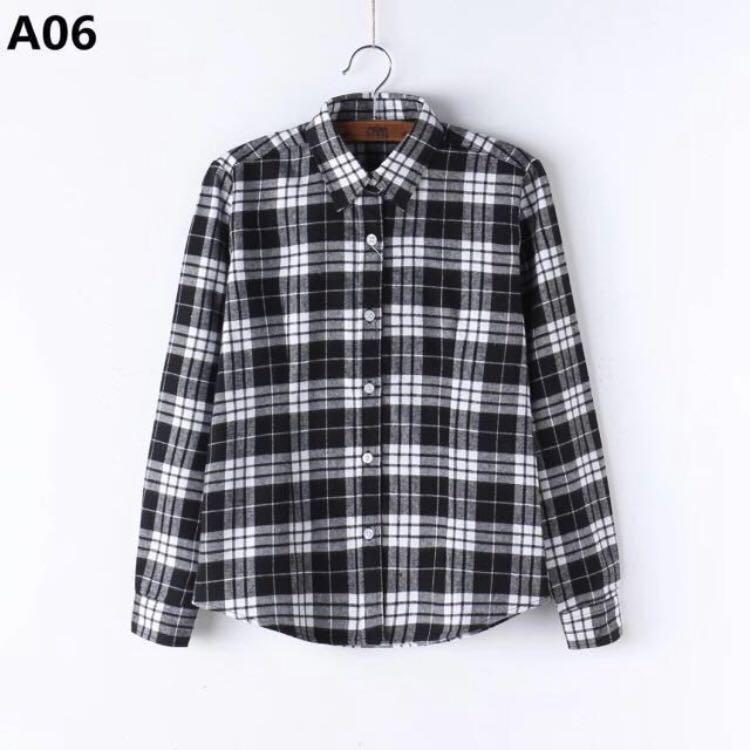 Black White Checkered Flannel Shirt