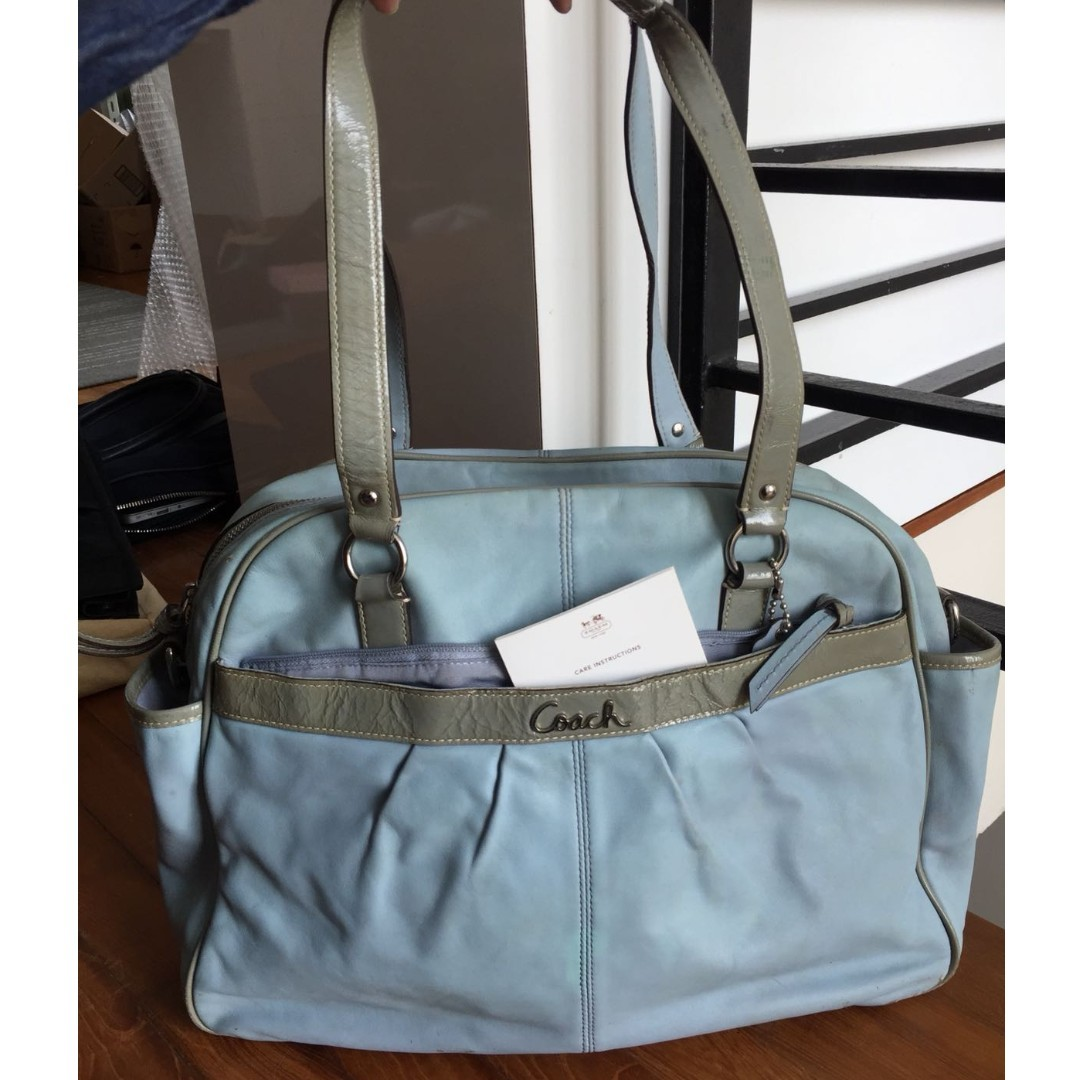 b23e8edeaa Coach F18374 Addison Multifunctional Leather Baby Large Shoulder Tote Bag  (Pastel Blue)