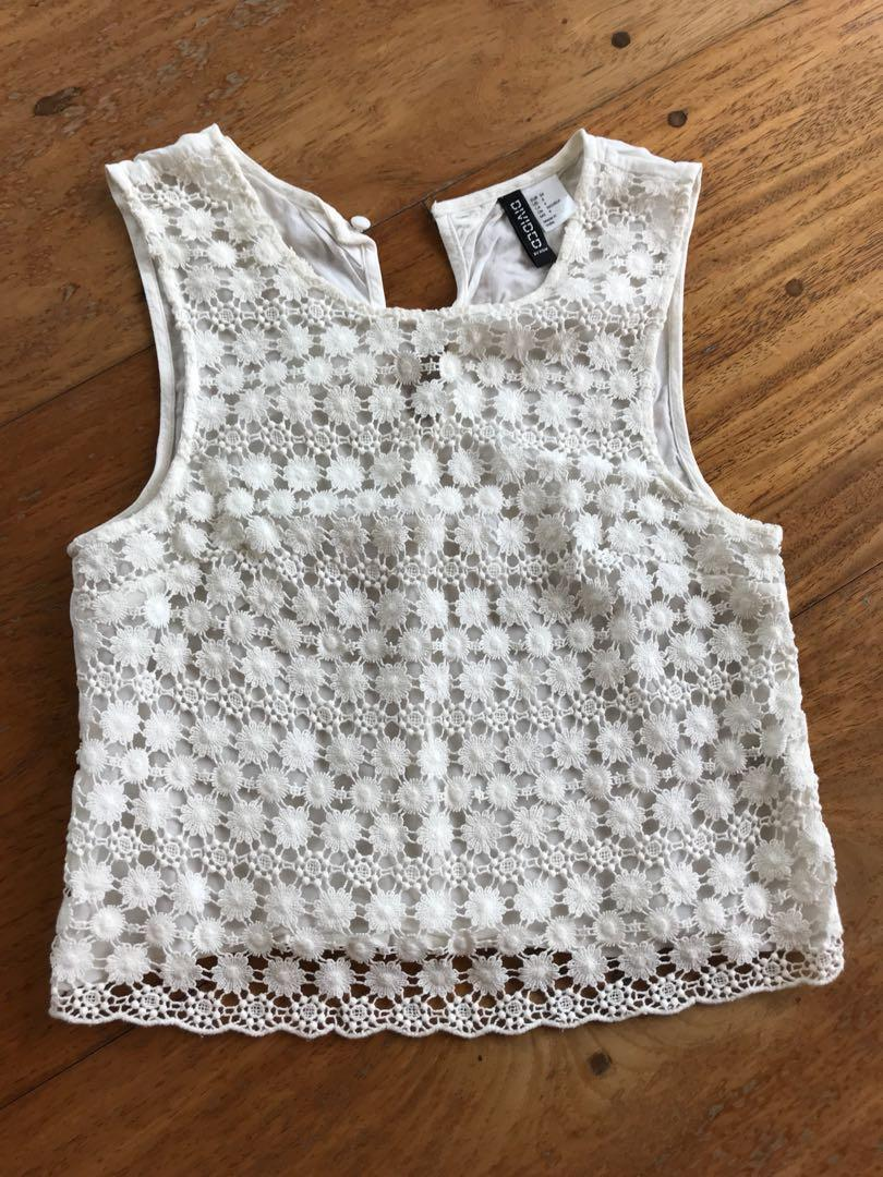 1ec9a97826cbbc DIVIDED by H&M - white flower lace sheer top on Carousell