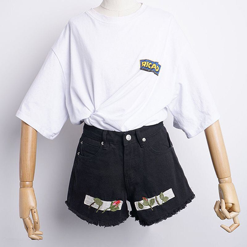 5c40eca713ee high waist ripped denim embroidery black shorts, Women's Fashion ...