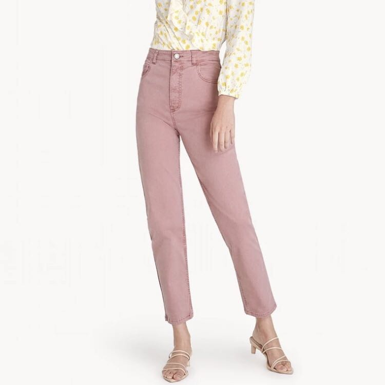 INSTOCK  Pink Highwaisted Denim BF Mom Jeans, Women s Fashion, Clothes,  Pants, Jeans   Shorts on Carousell e41387c54af8