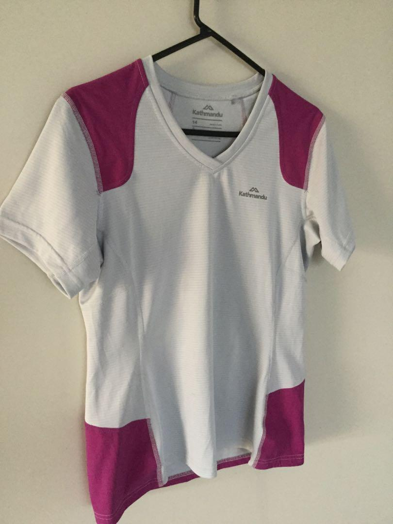 Kathmandu Ladies Shirt Size 14 Trail Tough White and purple colour