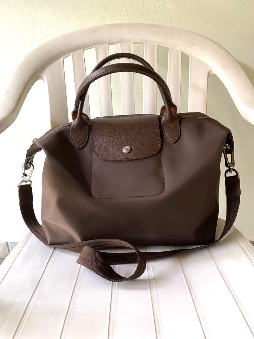 85d0b9d09 Longchamp Le Pliage Neo Bag, Dark Brown, Women's Fashion, Bags ...