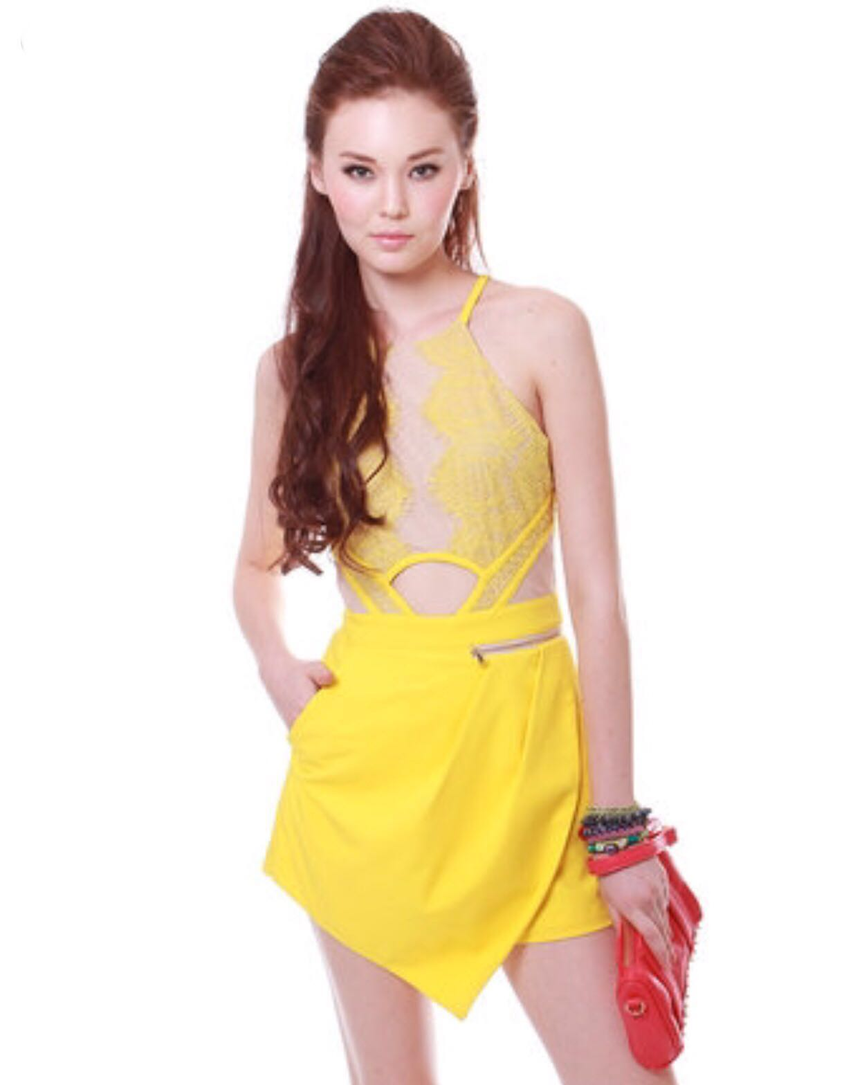 8ee9bd2e6c2 MDS Sultry Lace Yellow Romper S