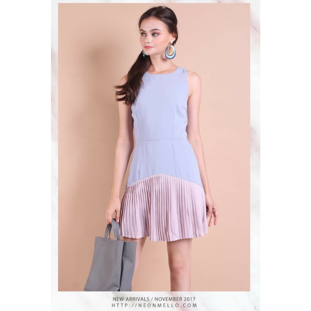 0f41430ddb36f Neonmello Madison Colourblock Pleated Hem Work Dress in Periwinkle ...