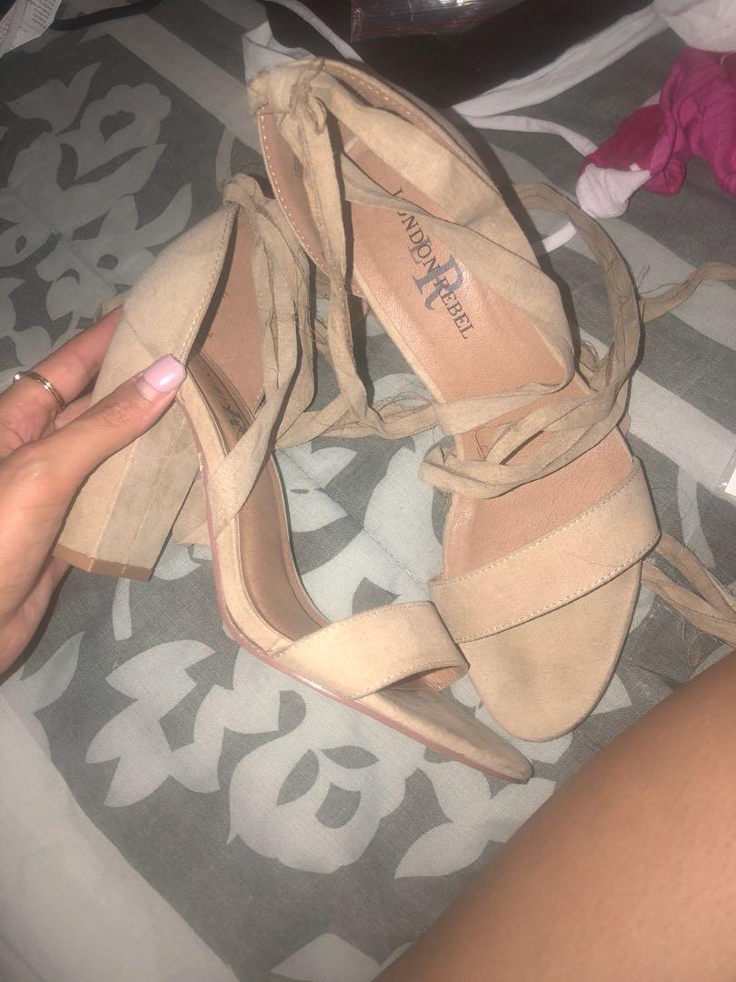 Nude wrap heels