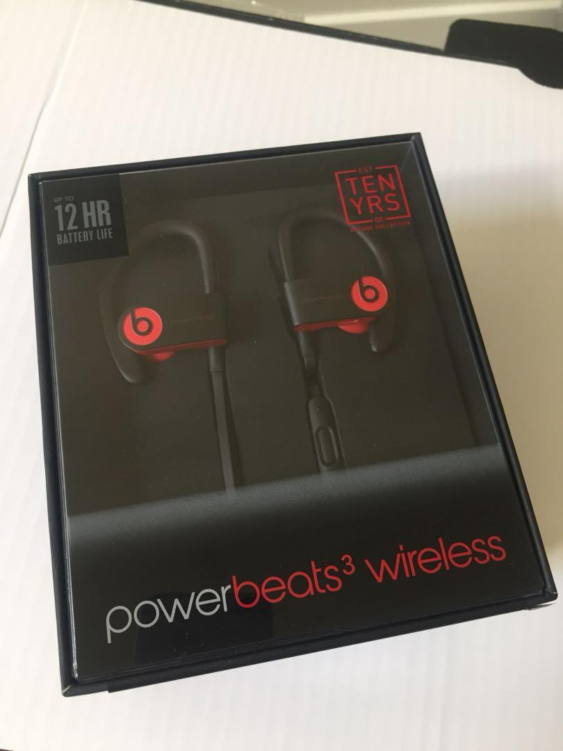 Powerbeats3 wireless BRAND NEW SEALED black & red retail$260 Decade Collection