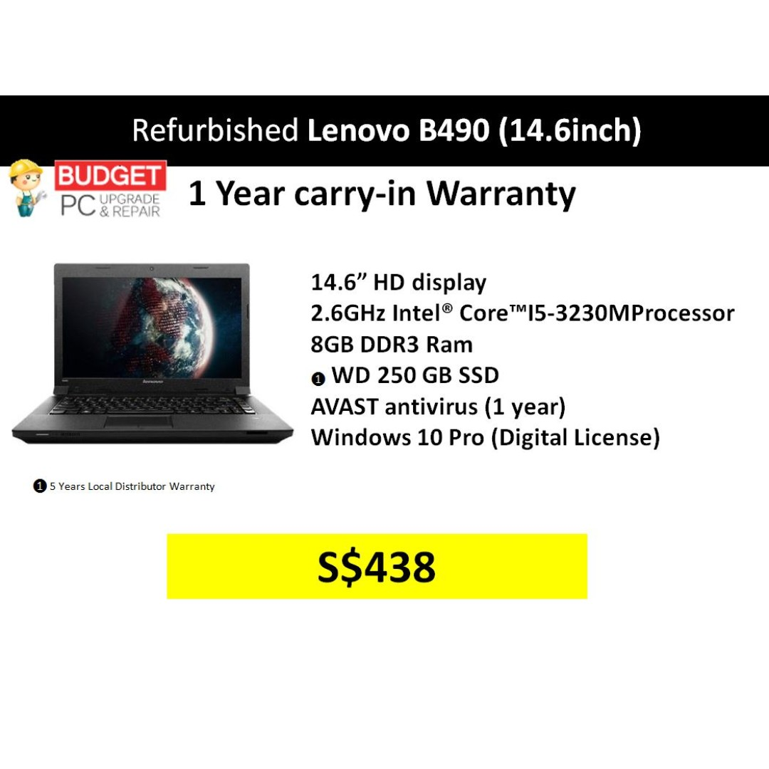 Refurbished Lenovo B490 / 14 6