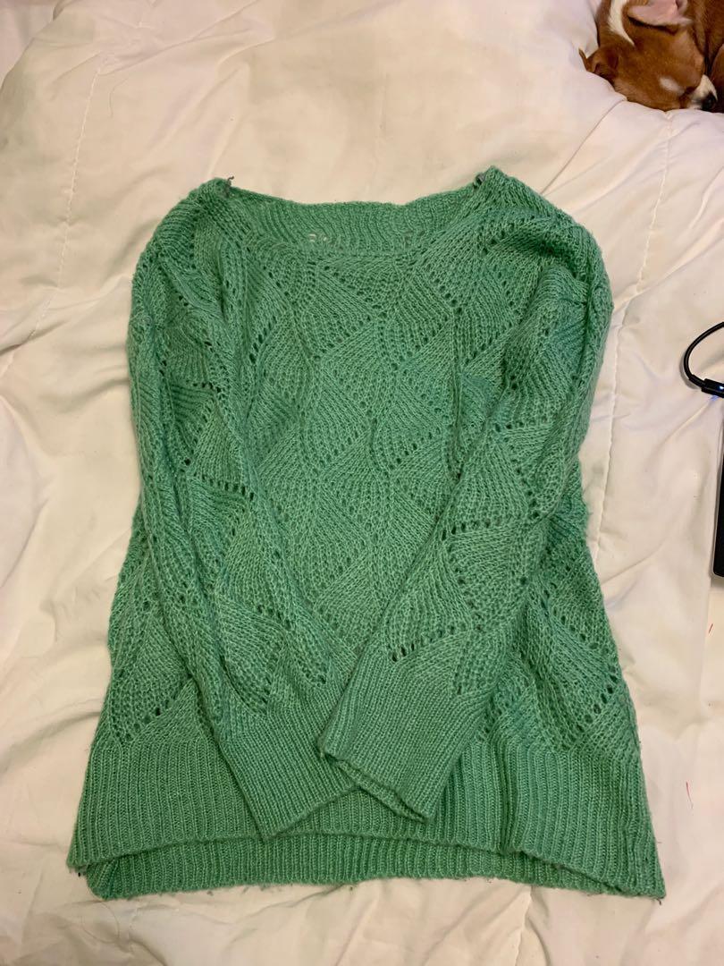 Sea foam green knitted sweater- Size M