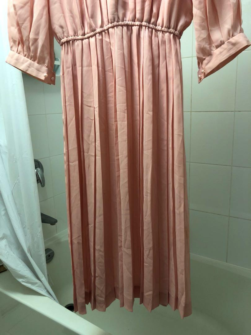 Size 8 Vintage Retro Baby Pink Pleated Midi Dress 3/4 Length Sleeves