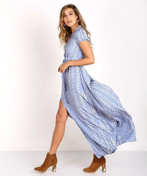 Tularosa Blue Chambray Maxi Dress with Plunging Vneck neckline