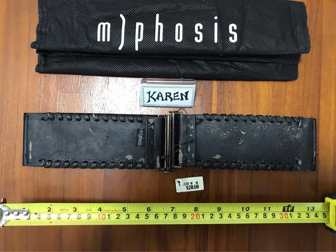Unworn m)phosis Black Elastic belt with chains