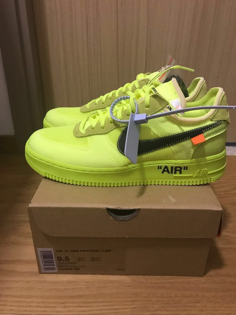 official photos e244a 8ce1c US9.5 Volt Nike Off White Air Force 1, Men s Fashion, Footwear, Sneakers on  Carousell