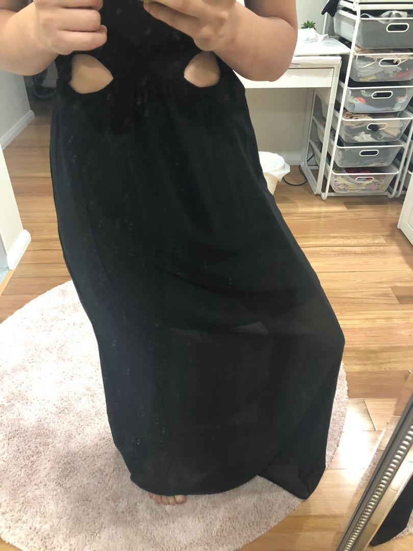 VALLEYGIRL BLACK HIGH NECK FORMAL CUT OUT 6 DRESS