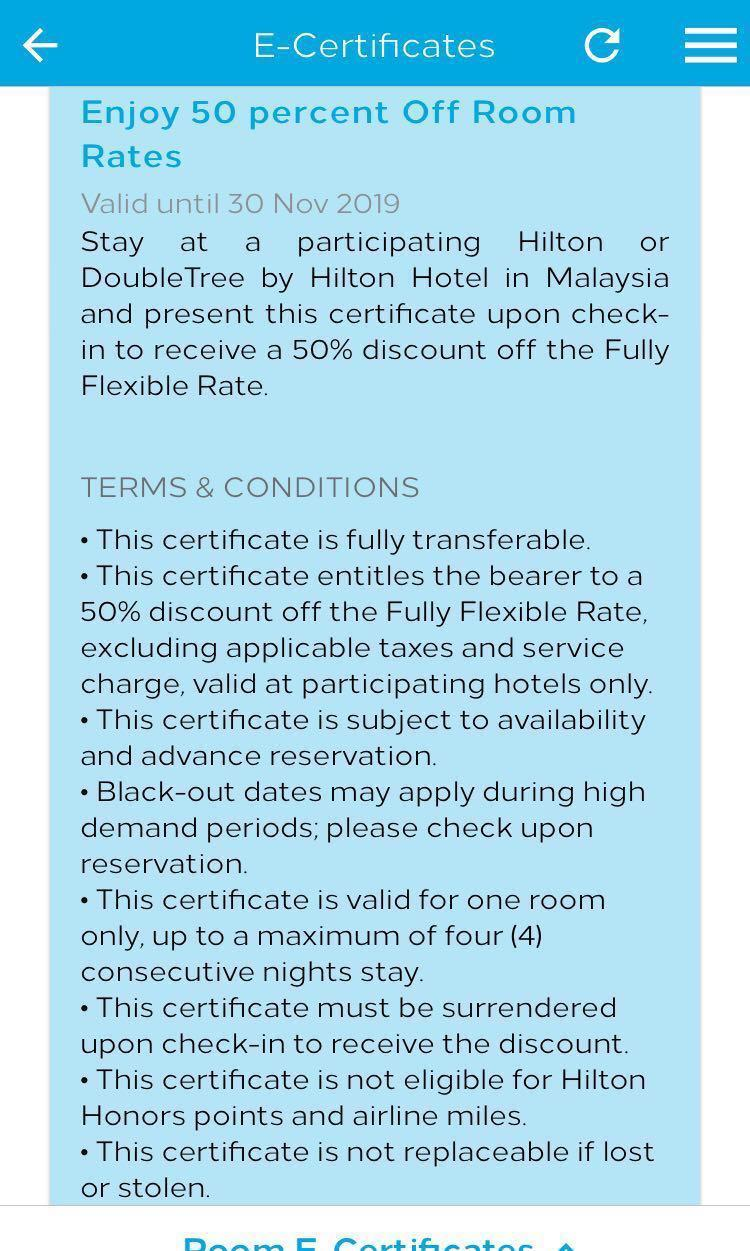 xmas25 Hilton 50% off room rates voucher on Carousell
