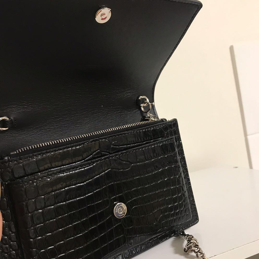 YSL Sunset chain crocodile embossed shiny leather bag