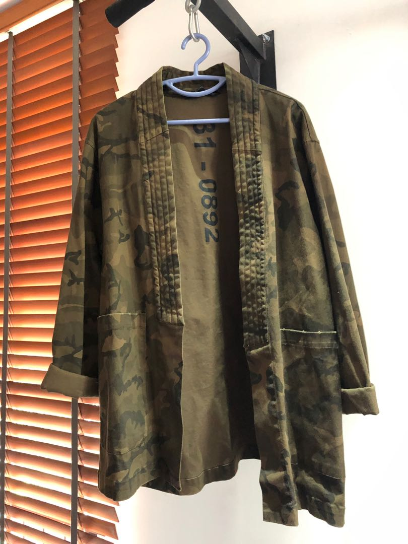 5599f2db9 zara kimono jacket camo, Men's Fashion, Clothes, Outerwear on Carousell