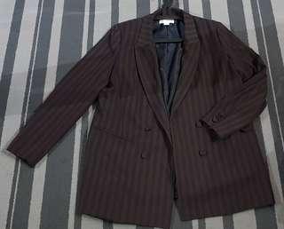 H&M Blazer Stripe Navy & Dark Choc