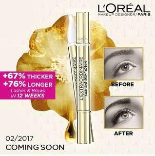 😍SAVE 50%!! CRAZY $13.95 SALE!!! 💛 SPARSE LASHES❓NO BROWS❓ LASH & BROWS GROWTH MAGIC SERUM!!! ❤️Loreal  L' EXTRAORDINAIRE LASH & BROW SERUM 1ST INTENSIVE THICKENING SERUM* WITH FILLOXANE™ TO REPAIR AND DENSIFY LASHES AND BROWS