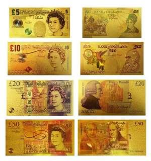 United Kingdom 24k gold banknote (4pcs)