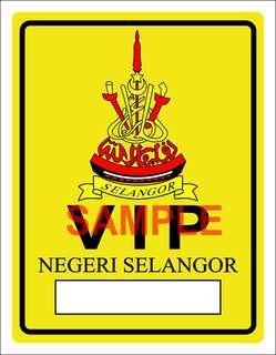 Selangor VIP Windscreen Sticker