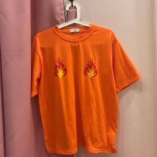 Flame tits on fire oversize top