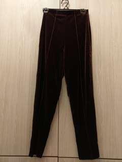 🚚 全新咖啡色絲絨高腰立體車線顯瘦長褲