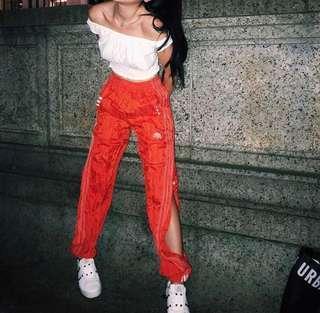🚚 Alexander wang X adidas紅側釦縮口褲