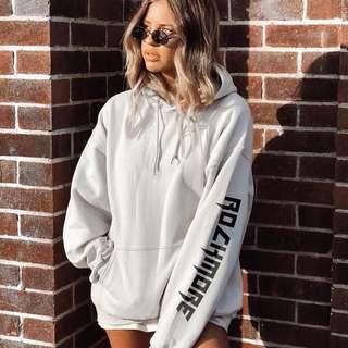 """[PO] (2 colours) """"rockmore"""" printed sleeves oversized hoodie"""