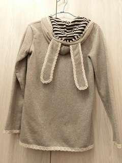 🚚 甜美可愛灰色兔耳連帽刷毛外套