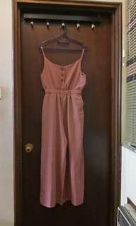 Spaghetti straps Pink Jumpsuit