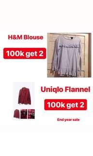 Woman Shirt! H&M Blouse , Uniqlo Flanel