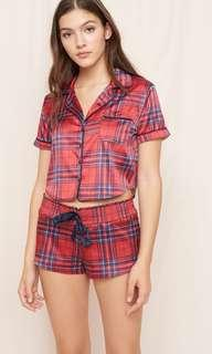 RED PLAID SATIN SLEEP SHORTS