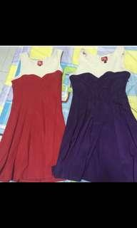 Red and purple dresses