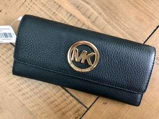 Michael Kors Fulton Flap Continental Wallet Black Leather MK Gold Logo