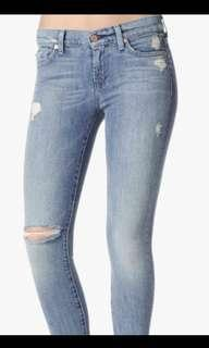 NWT skinny seven for all mankind distressed denim size 24