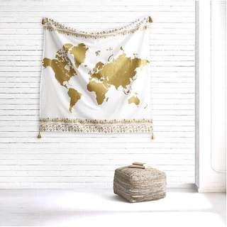 Gold World Map Tapestry With Tassles