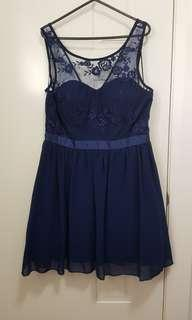 Blue dress (Size 12) with netting
