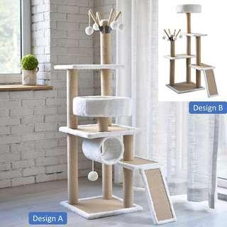 white cat condo tree scratch post, not cage carrier food cushion bed