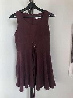 🚚 #換你的捐款發票 洋裝 長上衣 酒紅色綁帶波浪太陽裙