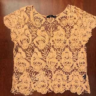 Sportsgirl crochet coral top