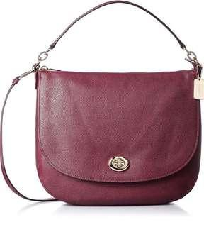 Coach 36762 Turnlock Hobo in Polished Pebble Burgundy Leather