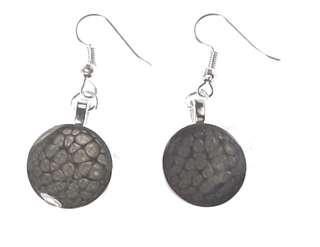 """Black """"Cellular"""" Hand Painted Earrings"""