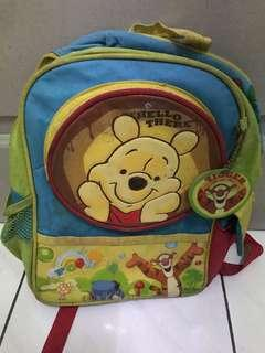Pooh bear backpack suitable for 6 years and below